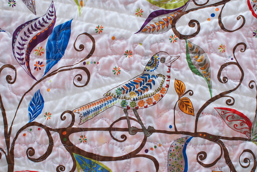 There are a total of five bird fabrics in Sea & Sky; this one is the backing fabric. I bought this fabric many months ago in Minnesota, always intending it for a quilt back. I trusted that the right quilt would reveal itself in time.  It did, in spectacular fashion.  Quilt story is at domesticat.net/quilts/sea-and-sky
