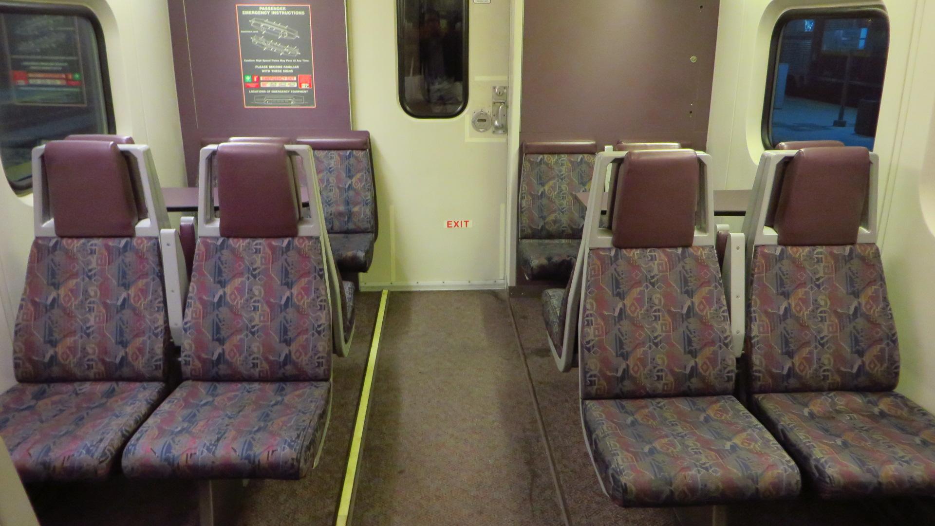 The mid-level vestibule section of an ex-Metrolink Bombardier Bilevel passenger car