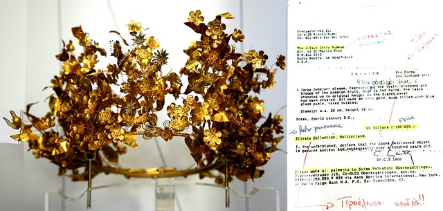 Gold Macedonian Myrtle Wreath, with JP Getty museum false provenance letter, repatriated 2007, Thessalonica Archaeological Museum