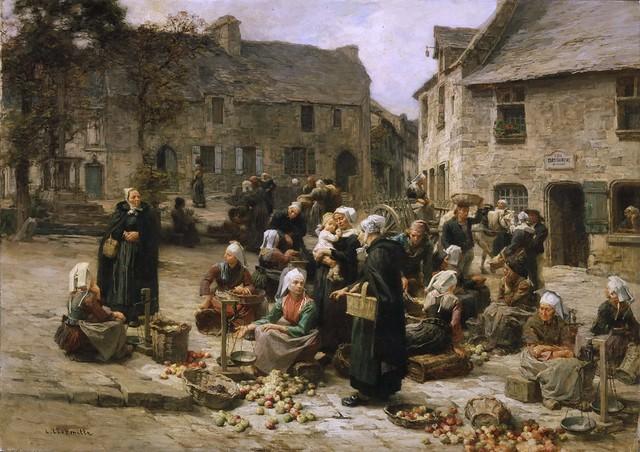 Léon-Augustin Lhermitte - Apple Market, Landerneau, Brittany [c.1878]