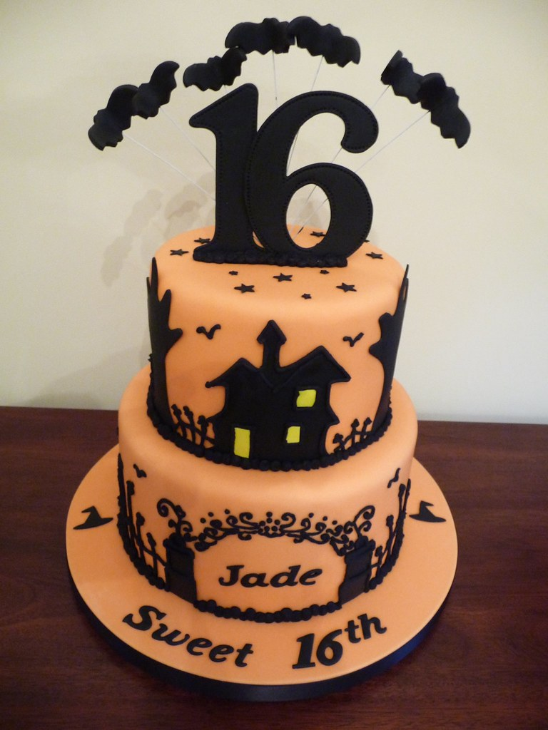 Outstanding Halloween Birthday Cake Made For A Sweet 16Th Halloween Pa Flickr Funny Birthday Cards Online Barepcheapnameinfo