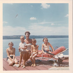 At Cayuga Lake, family cottage with cousin Linda Serko and mom