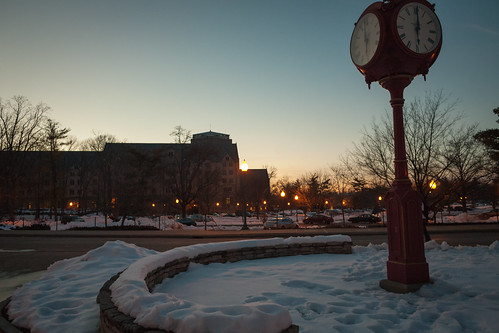 classic fullframe canonef28mmf18usm indiana indianauniversity january cold winter snow clock indianamemorialunion sunset adobelightroom42 365the2013edition 3652013 canon5dmark1 bloomingtonindiana