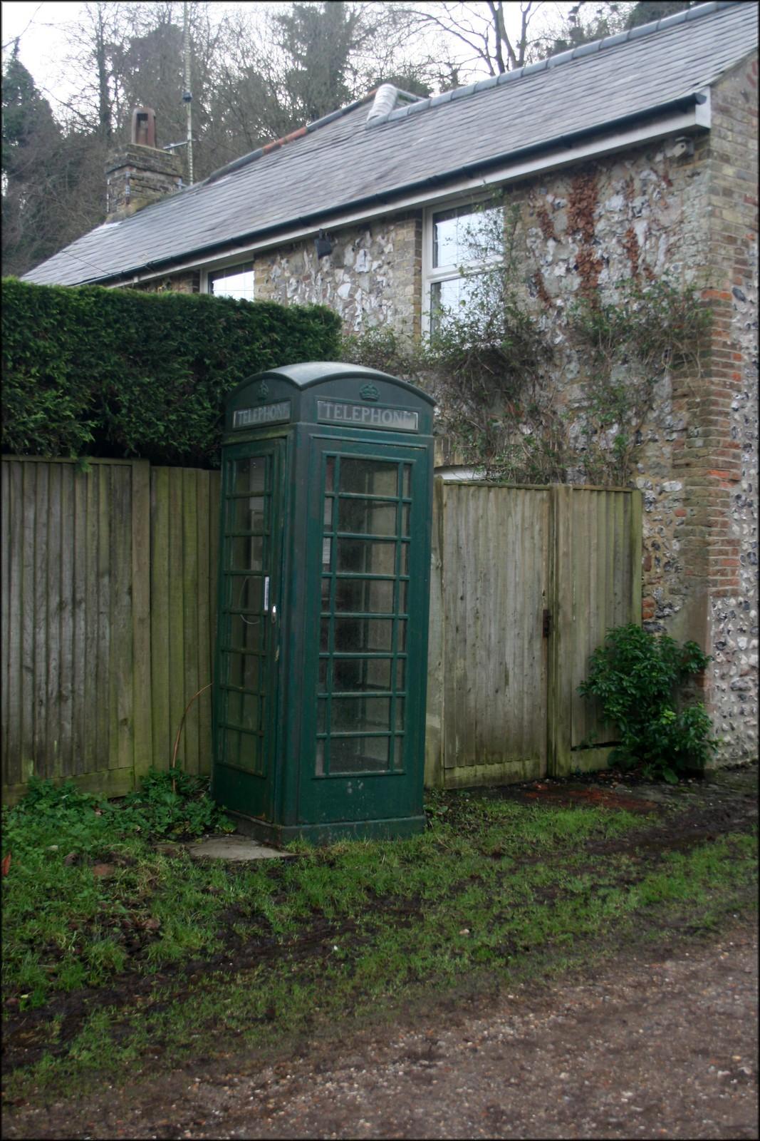 Friston Forest near Litlington A green telephone box at the entrance to Friston Forest near Litlington