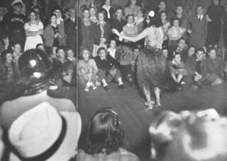 Bertha Fernandes entertains the 1939 flood anniversary party guests with Hula dancing