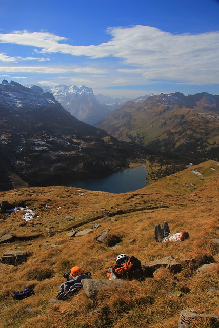 mountain siesta; Bernese Oberland, view to Wetterhorn
