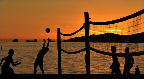 sunset volleyball vancouver britishcolumbia englishbay canada silhouette youth sports contrejour