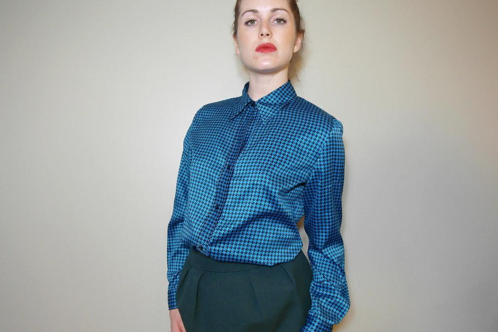 f19f82af6690db Blue & black pattern satin button up blouse | ejt1977 | Flickr