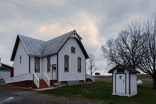 sunset usa fall church outside outdoors afternoon michigan unitedstatesofamerica overcast kalamazoo outhouse barrycounty nikviveza eos60d theoldgospelchurch