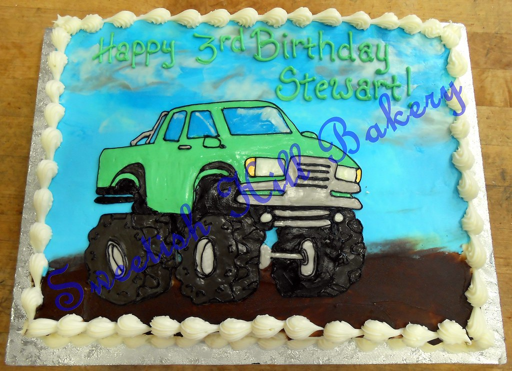 Astounding Monster Truck Birthday Cake Custom Drawing On A 1 4 Sheet Flickr Funny Birthday Cards Online Fluifree Goldxyz