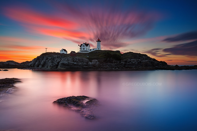 Sea Rocks and Sunrise, Nubble Lighthouse York Maine