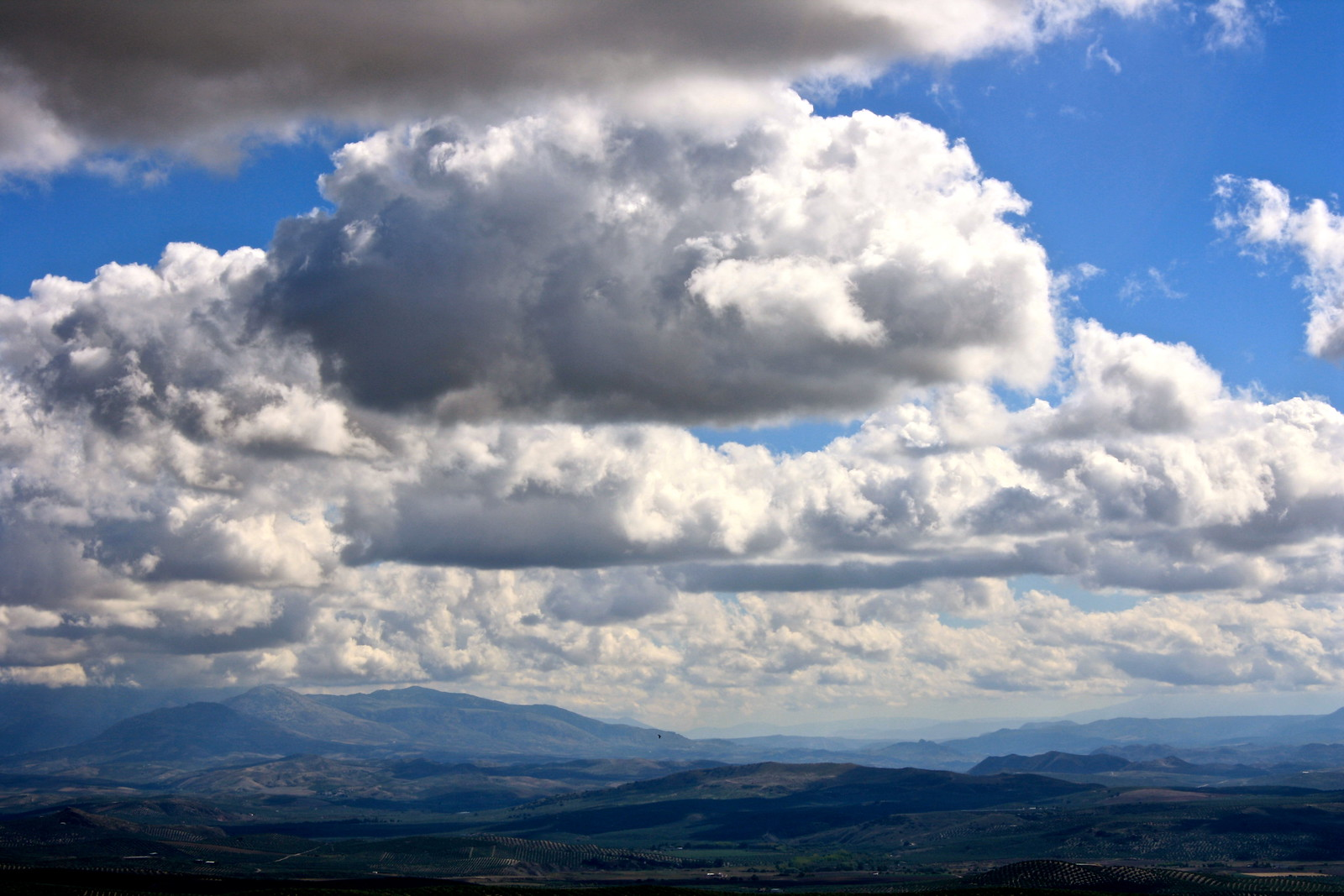 Clouds over olive groves in Jaén province, Spain