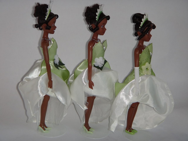 Comparing Tiana 12'' Dolls - 2011 and 2012 10-Pack, 2012 Classic - Lifting Skirts - Full Left Side View