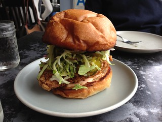 Fried chicken sandwich, spicy b&b pickle slaw, rooster aioli | by T.Tseng