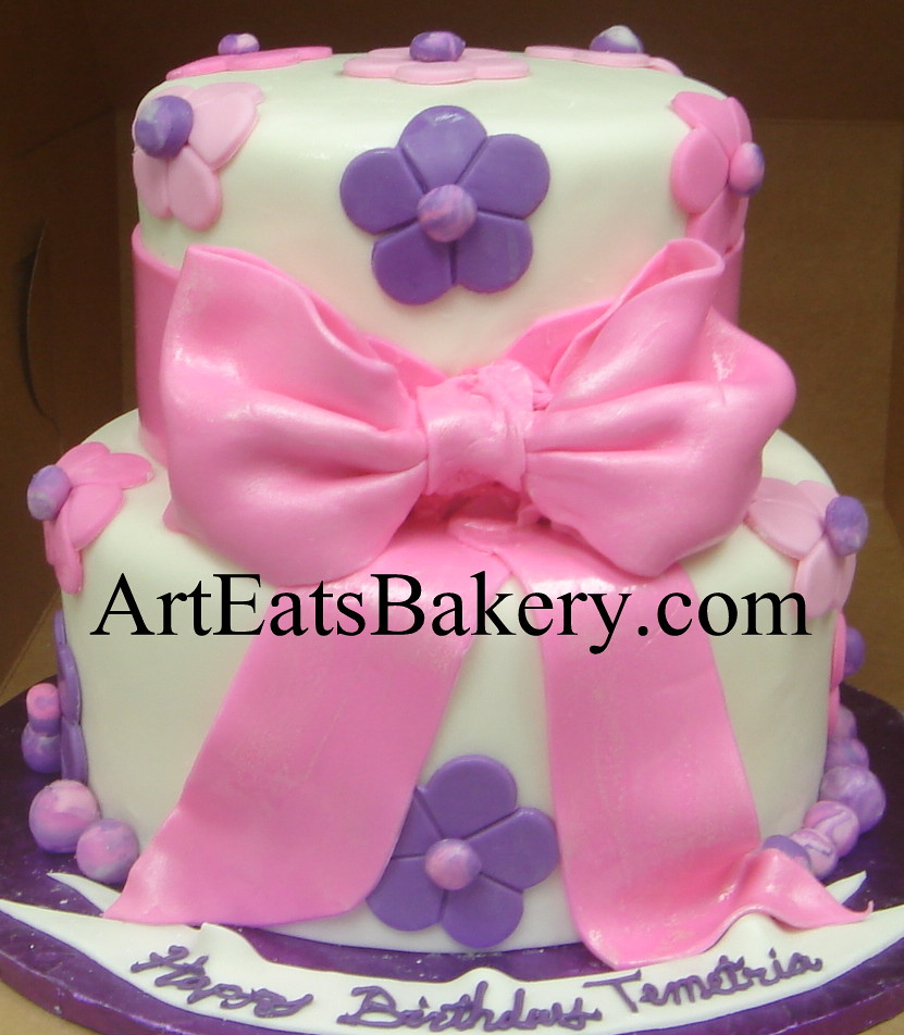 Pleasant Pink Purple And White Fondant Two Tier Custom Creative Un Flickr Personalised Birthday Cards Arneslily Jamesorg