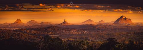 australia canon clouds glasshouse landscape leefilters light mountains panorama queensland shadow sunset sunshinecoast trees volcanic