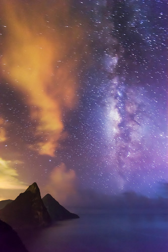 hot night clouds rainforest warm purple sticky caribbean bluehour storms stlucia milkyway pitons soufriere petitpiton grospiton flickrchallengegroup flickrchallengewinner