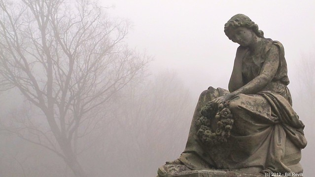 Chester VT mourner in the autumnal morning fog