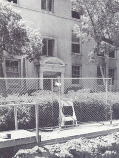Smiley Hall undergoing structural reinforcements in 1990; during the unexpected construction, 52 students lived in Griswold's Claremont Center and were shuttled back and forth to campus