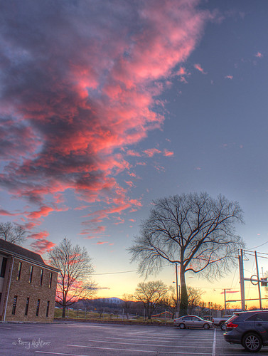 pink trees winter sky clouds virginia twilight parking colonial lot roanoke terry avenue hdr aldhizer terryaldhizercom