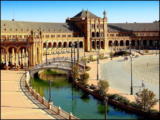 Spain, Seville. Plaza de Espana
