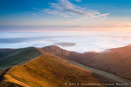 uk morning blue trees sky cloud white mist mountain cold green fog wales clouds landscape dawn early cool movement exposure unitedkingdom path top breconbeacons clear dew fields layers inversion brecon dense