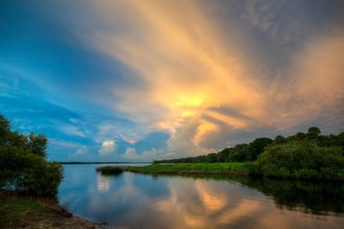 sunset storm thunderstorm cloud myakka lake reflection river state park sarasota florida fl fla myakkariver myakkalake statepark sarasotaflorida stormysunset