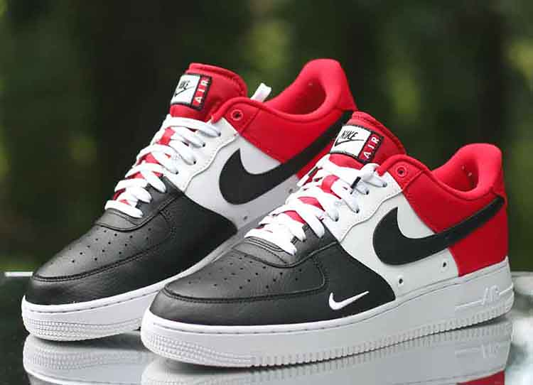 pretty nice 6bf01 edffb ... Nike Air Force 1 Low LV8 Black Toe Mini Swoosh Red White 823511-603 Size