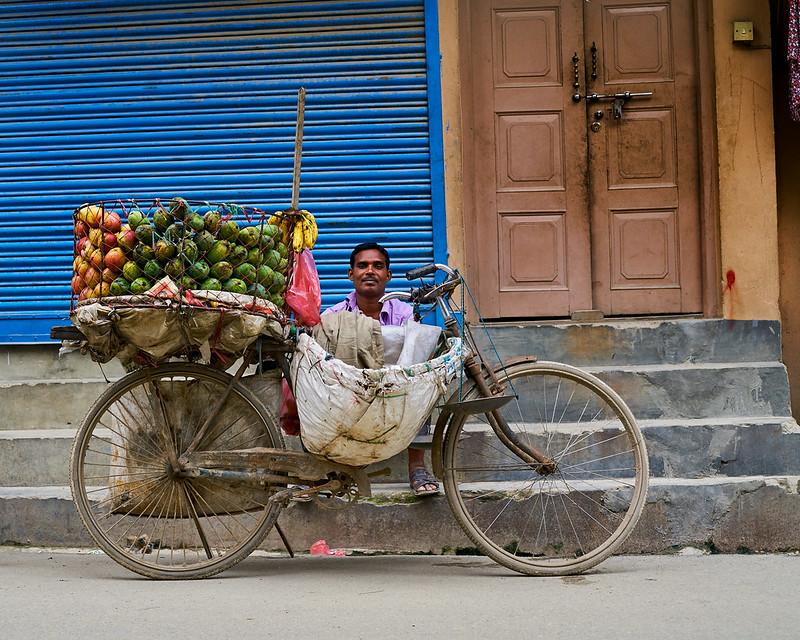 Fruit vendor waiting for customers in Kathmandu, Nepal