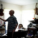 Retired U.S. Air Force Master Sgt. Daniel Holmes, picks up one of his handmade violins at his home in Lowell, Mass., Jun. 1, 2018. Holmes teaches Airmen various electronic and mechanical skills in order for them to maintain technology used at the Sagamore Hill Solar Observatory of the 2nd Weather Squadron, Det. 2, in Hamilton, Mass. (U.S. Air Force photo by J.M. Eddins Jr.)