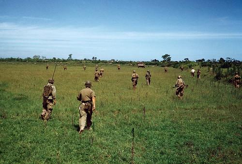 Robert Capa, May 25, 1954 - Binh sĩ QG Việt Nam tiến qua một đồng lúa giữa Nam Định và Thái Bình