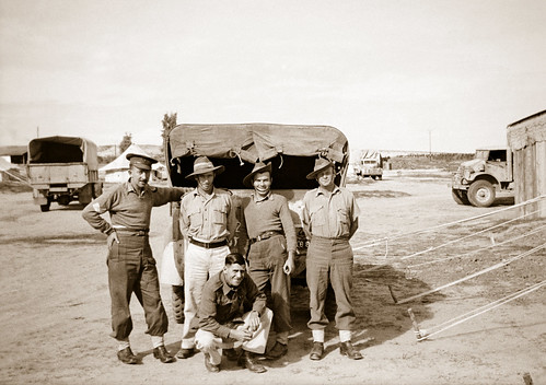 December 1942 - Australian Army 2/4 Anti-Malaria Control Unit mates at Kilo 89 Camp, Gaza, Palestine