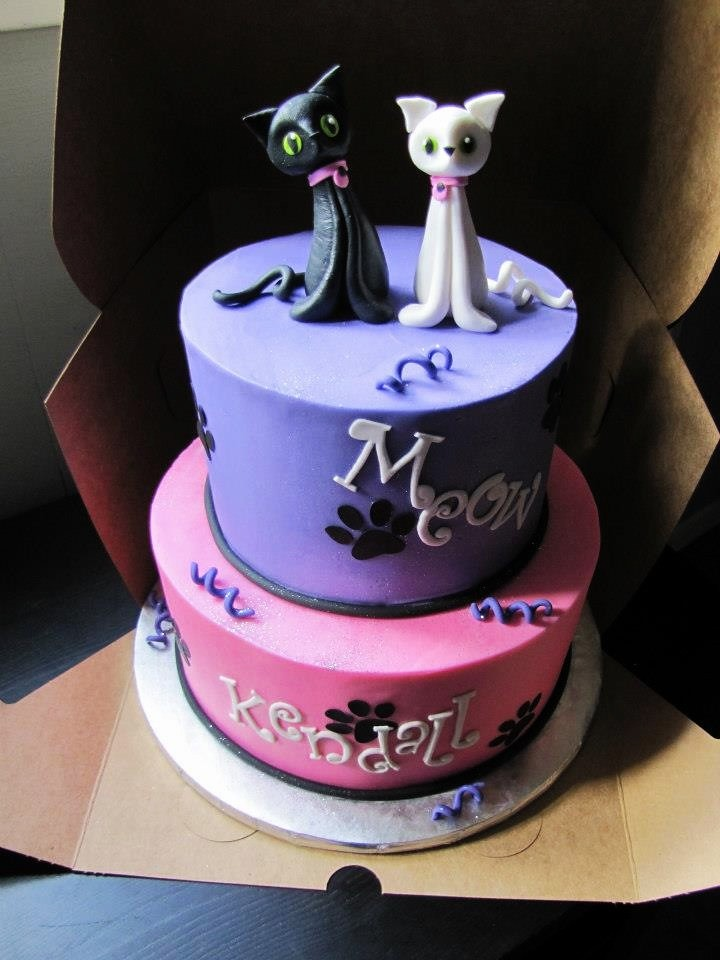 Awe Inspiring Cat Birthday Cake Cat Figures Modeled After Pom Pom Cakes Flickr Personalised Birthday Cards Veneteletsinfo