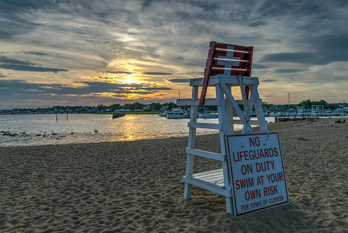 clinton clintontownbeach connecticut hdr lifeguard longislandsound nikon nikond5300 outdoor beach boat boats chair clouds evening geotagged harbor ocean reflection reflections sand sky sunset water unitedstates
