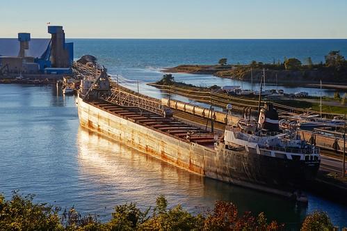 industry boat ship greatlakes hdr lakehuron laker freighter selfunloading nikkor35mmf2af sonynex5n nikkorpc85cmf2rangefinder85mm vacation2012summer vacation2012easternlakes