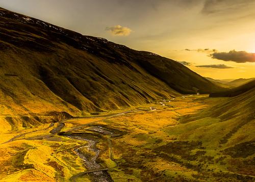 light sunset sky clouds river scotland hills valley greymarestail leefilters