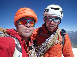 Masa(L) and Richard at Pointe Walker, Grandes Jorasses   by Masa Sakano