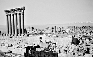 Nov 1942 - View of the massive Six Columns of the Temple of Jupiter at Baalbek, Syria (now Lebanon)