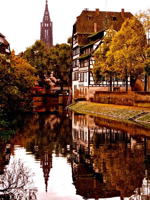 Golden canal reflection - Strasbourg, France