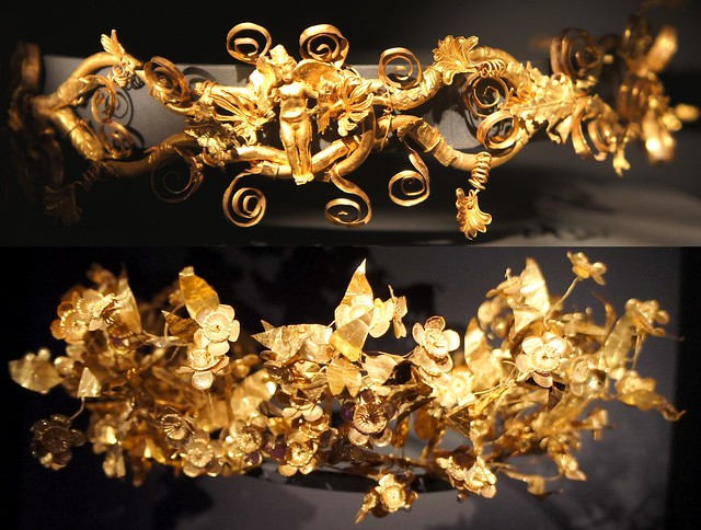 Gold Diadem with Eros at centre, and Gold Myrtle leaf. Macedon 300BC. Thessalonica Archaeological Museum