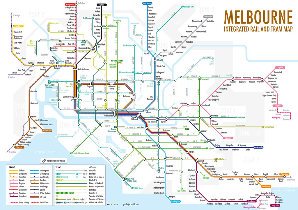 Tram Melbourne Map Melbourne Integrated Rail and Tram Map | Melbourne, Australi… | Flickr