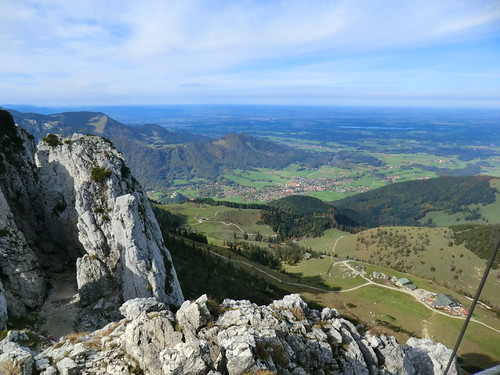 1210 Looking from the summit of the Kampenwand, path down on the left, Aschau on the right   by c.miles
