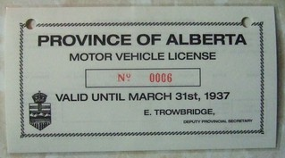 ALBERTA VALID JAN. 1, 1937 - MAR. 31 1937 WINDSHIELD STICKER FRONT