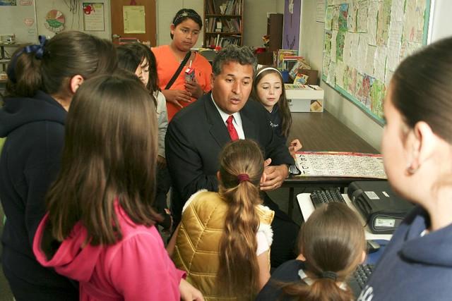 Juan Vargas with school children