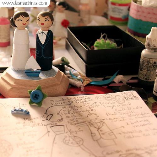 Pintando las figuras de boda de Pilar y Arndt