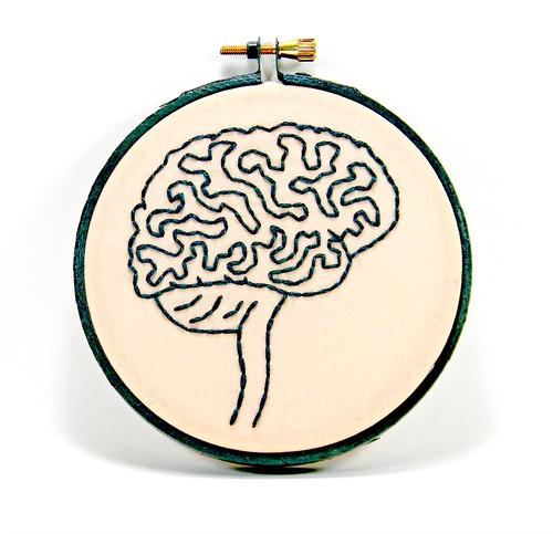 Grey and Pink Brain Anatomy Mini Hoop Art. Hand Embroidered. | by Hey Paul Studios
