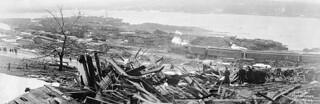 View of Halifax, Nova Scotia, after the explosion, looking toward Pier 8 from the Willis Foundry / Vue d'Halifax en Nouvelle-Écosse, après l'explosion, en direction du quai no 8, à partir de la fonderie Willis