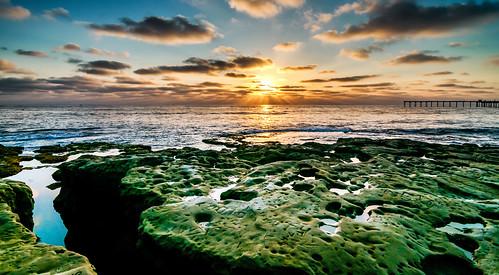 ocean california ca blue sunset sun green beach clouds gold rocks pacific sandiego over socal ob skynoir