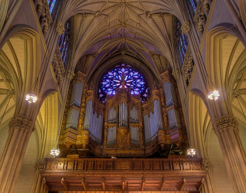 Saint Patrick's Cathedral Grand Organ, Rose Window by Charles Connick, New York | by notmydayjobphotography
