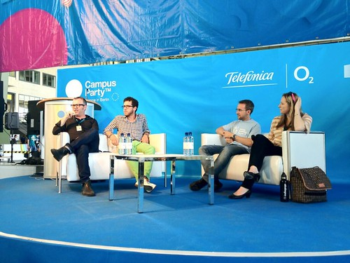Mike Butcher moderating panel on Crowd Funding at Campus Party EU in Berlin | by blacktar